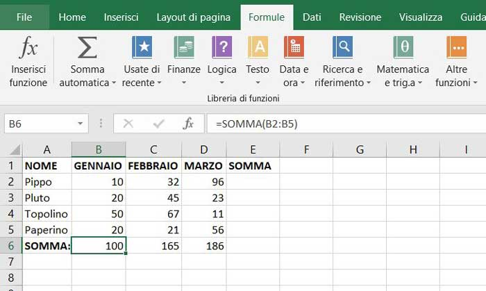 somma automatica excel 2