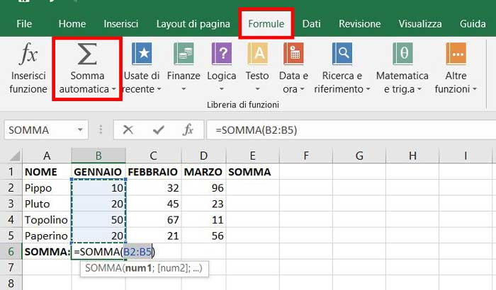somma automatica excel
