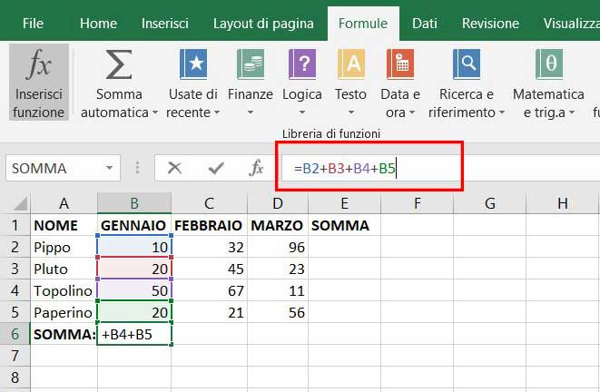 somma manuale excel