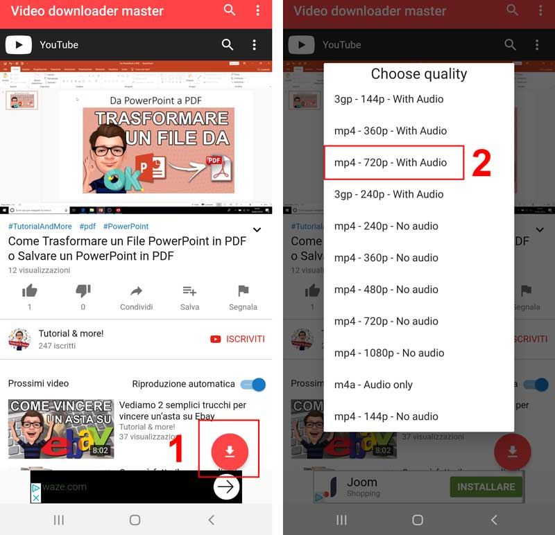scaricare video youtube su smartphone Video Downloader Master