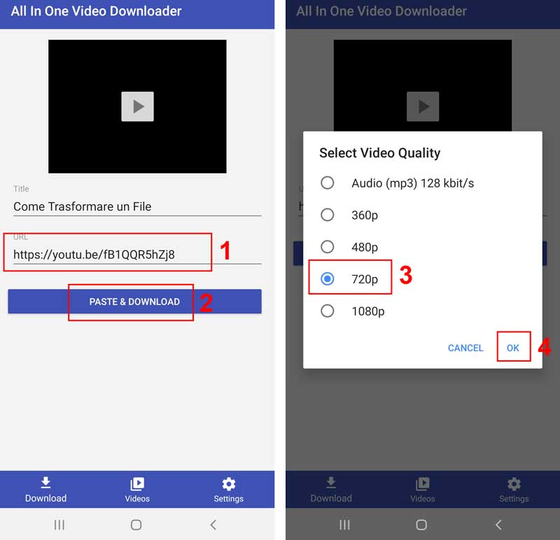 scaricare video youtube su smartphone all in one Video Downloader